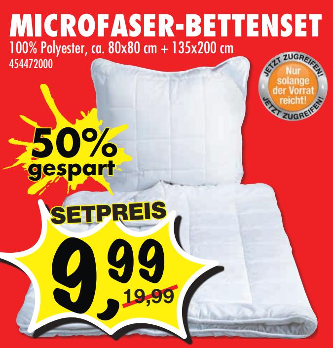 [SCONTO] Microfaser-Bettenset 2x 80x80cm + 2x 135x200cm für 14,98€ (Angebot+SMS NL) [OFFLINE]