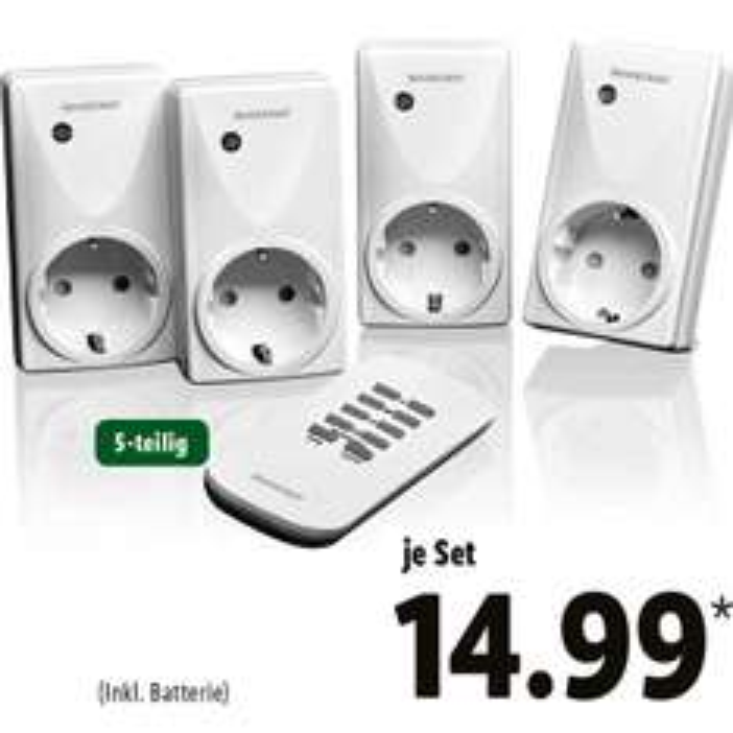 Funksteckdosenset, 5-teilig für nur 14,99€ bei (Lidl ab 19.10)