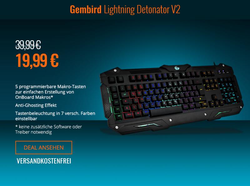 Gaming Tastatur in 7 verschiedenen Farben einstellbar und OnBoard Makro´s für 19,99 inkl. Versand