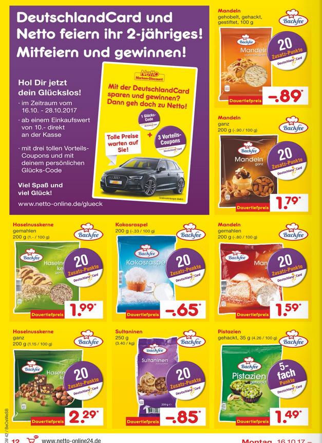 [Netto & Deutschlandcard] 20 Zusatzpunkte = 0,20€/pro Packung auf zb. Rosinen, Mandeln, Kokosraspel & Nüsse