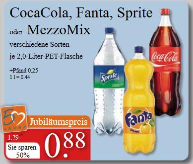 [Lokal V-Markt] Coca Cola, Fanta, Sprite - 2l-Flasche für 0,88 €