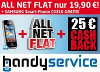 All-Net-Flat für 19,90 Euro/Monat+ Samsung C3310 für 1€, 0€ Anschlusspreis und 25€ Cashback!