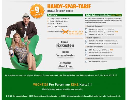 Klarmobil Prepaid 10€ Guthaben auf Ebay