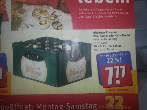 Bitburger Pils, Radler oder Cola Stubbi für 7,77 bei Rewe