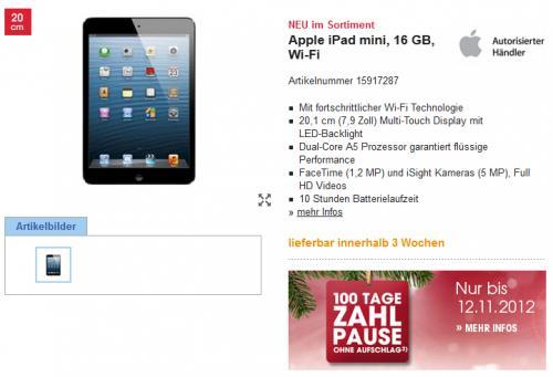 Apple Ipad Mini 16GB bei Otto (Neukunde)
