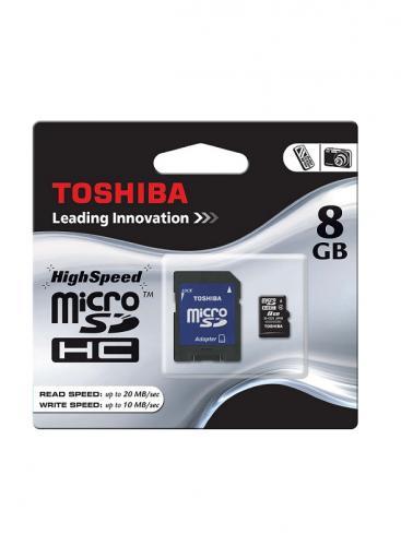 Toshiba 8GB microSDHC CL4 - inklusive SD Adapter (versandkostenfrei bei Vorkasse, PayPal und Sofortüberweisung)