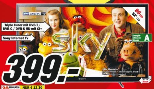 [LOKAL ? MUENCHEN] Sony KDL-32EX655 32 Zoll LED-Backlight-Fernseher (Full HD, Motionflow XR 100Hz, DVB-T/C/S2, Internet TV) @ MediaMarkt für 399,00 EUR