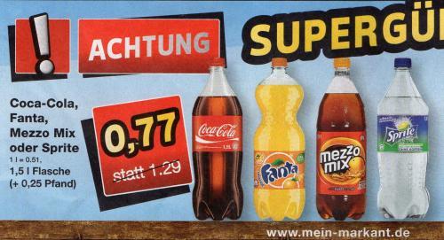 [Regional] Cola, Fanta, Sprite, Mezzo-Mix 1,5l für 0,77€ (0,51€/l) @ Markant