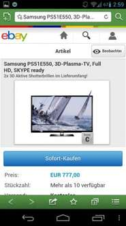 [EBAY]: Samsung PS51E550, 3D-Plasma-TV, Full HD 51""