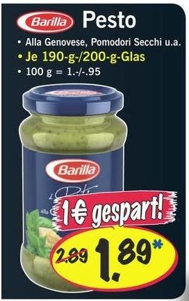 LIDL [offline] - Barilla Pesto (Alla Genovese, Pomodori Secchi u. a.) je Glas 1,89 € = - 1 €