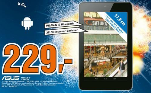 Saturn Jena - Neueröffnung: Nexus 7 Tablet Wifi 32GB für 229 €