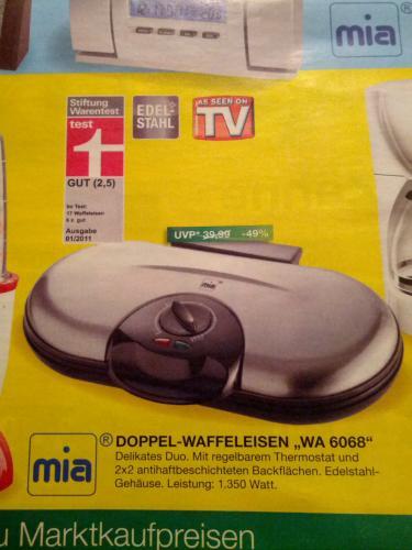 Mia Waffeleisen WA 6068 für 20,- Euro im Marktkauf lokal in Bielefeld