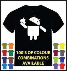 "(UK) Android ""Eating Apple"" T-Shirt in diversen Farben für 12€ inkl. Versand @ Ebay"