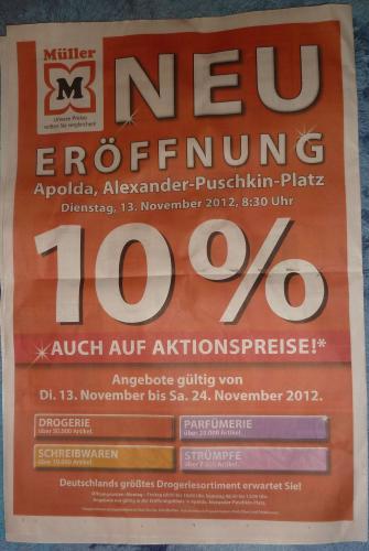 [LOKAL] Apolda: Müller-Drogerie-Neueröffnung 13.11. - 10% auf alles