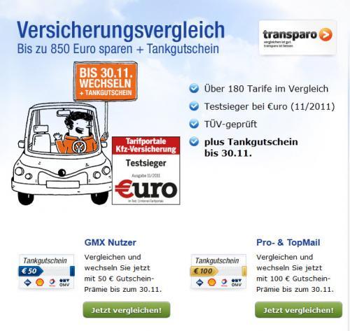 50€- oder 100€-Tankgutschein bei KFZ-Versicherungswechsel über transparo / GMX
