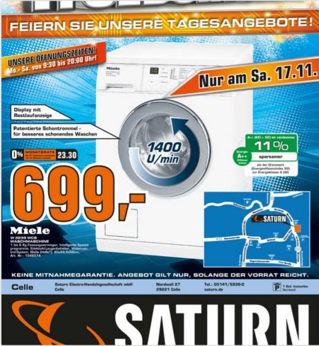 Miele Waschmaschine W 3239 WCS, A++ nur 699 Euro; offline @ Saturn Celle am 17.11.12