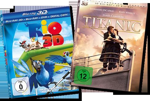 BLURAY Titanic 3D und Rio 3D für jeweils 9.90 Euro