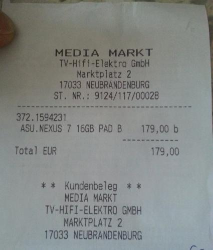 [Lokal Mediamarkt Neubrandenburg] Nexus 7 16GB für 179 Euro