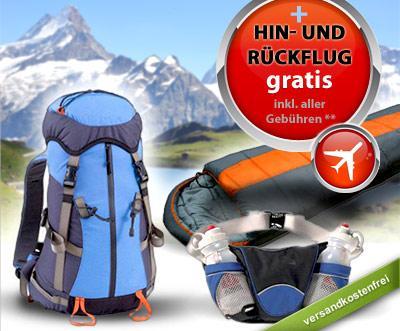 Europa-Returnflug+Rucksack+Schlafsack+Bauchtasche
