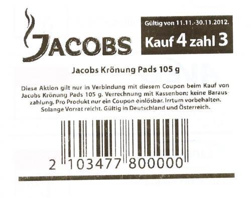 (Offline) Bundesweit - beim Kauf von 4 x Jacobs Krönung Crema Pads (klassisch) 25% sparen @Müller