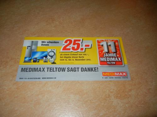 Lokal: Medimax in Teltow feiert 11jähriges Bestehen - 25 € geschenkt und Nescafe Dolce Gusto vor Ort trinken