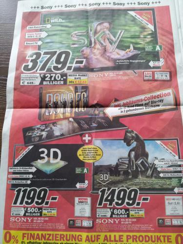 MediaMarkt Stuttgart-Feuerbach - Top TV-Angebote z.B.  SONY KDL55HX855 inkl. Bond50-Box für 1499 EUR anstatt ca. 2000 EUR