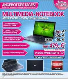 "Acer Aspire 7750G-32354G50Mnkk - 17"", Core i3-2350M, 4GB, 500GB, AMD HD7670 (1GB) Win7 + Win8 Upgrade @T-Online Tagesangebot!"