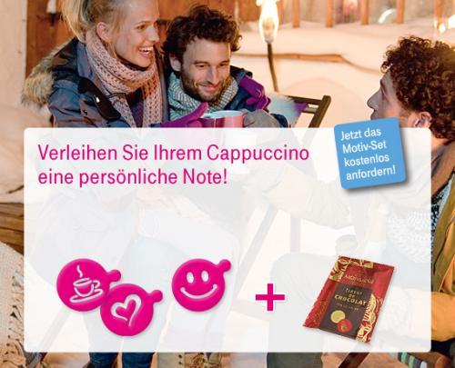 kostenlose Cappuccino Schablonen + Kakao von der Telekom