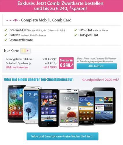 Combi Card - Tarif nur für Sparhandy.de UND T-mobile Bestandskunden