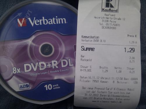Preisfehler: Kaufland Peine 10er Spindel Verbatim DVD+R DL [Lokal]