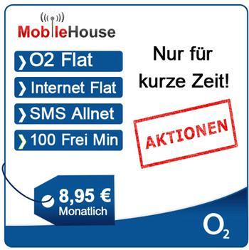 mobilcom-debitel o2 clever 100 / SMS/Internet/o2-Flat und 100 Minuten für 8,95€ monatlich