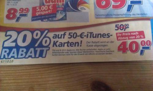 40 statt 50 Euro: iTunes-Karten bei real im Angebot, 19.11. -24.11.