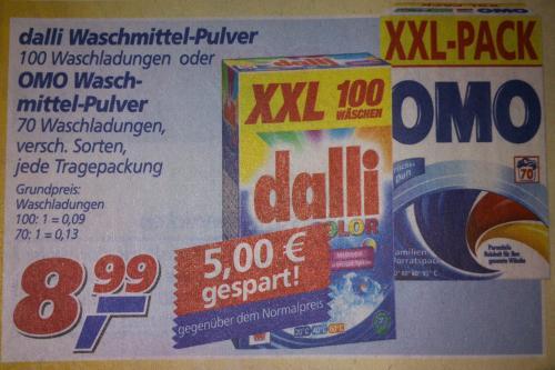 real: Dalli Waschmittel versch. Sorten 9 Cent pro Waschladung ab 19.11.