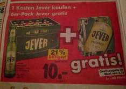 [Lokal]? Kaufland Kaiserslautern-> Kiste Jever 20x0,5l + 1 Sixpack 0,33 = 10€