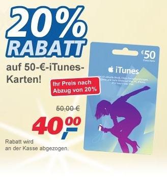 50€ iTunes Karte für 40€ bei Real [offline]