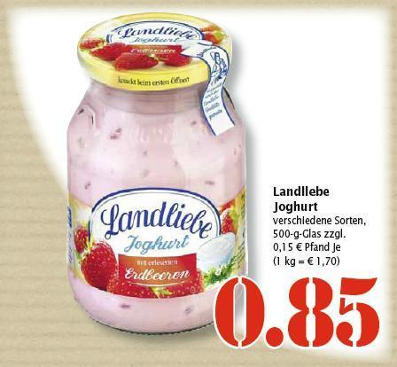 Landliebe Joghurt 500g-Glas für 0.85 EUR im Marktkauf
