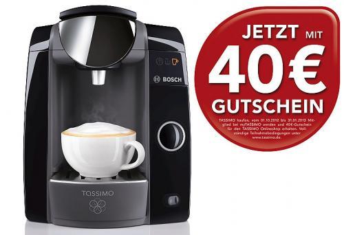 Bosch Tassimo incl. 40,00 Euro Gutschein + 1 Pack Kaffee nach Wahl  für 59,99 Euro