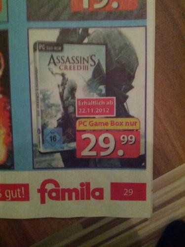 Assassins Creed 3 III PC-DVD 29,99€ [Offline] Famila