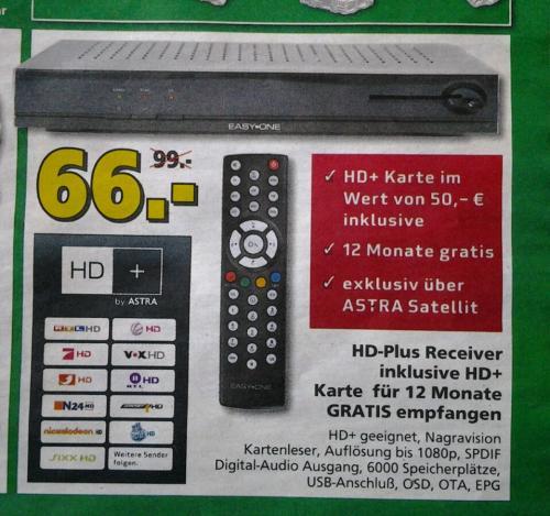 Lokal bei Hela Baumarkt Weinheim -Easy One HD+ Basic V2 Sat Receiver inkl. HD+ Karte