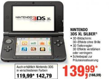 NINTENDO 3DS XL SILBER für 166,59€ vom 22.11 - 05.12 bei Metro
