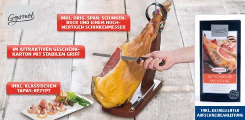 NUR IN ÖSTERREICH - Orig. span. Serrano-Schinken im Ganzen. 6,5kg inkl. Bock und Messer