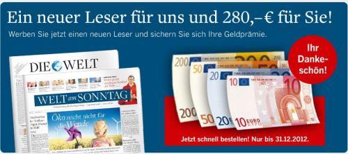 """""""Die Welt"""" und """"Welt am Sonntag"""" Jahresabo für nur 282,80 € durch Bargeldprämie i.H.v. 280,- €"""