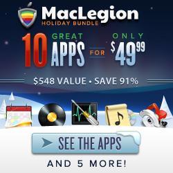 The MacLegion Holiday Bundle 2012 – bis zu 11 Apps für 49,99$ (39,22€) anstatt 548$