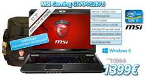 """MSI GT70-75287B / i7 3630QM (2,4GHz) / mattes 17,3 """" Full HD Display / 8 GB RAM / 750 GB HDD (7200rpm) / Geforce GTX675 (4GB RAM) / Blu Ray Player / beleuchtete Steelseries Tastatur / inkl. gratis Demoliton Backpack im Wert von 49€"""