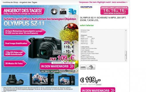 [T-Online] Olympus SZ-11 Digitalkamera -> 106,38€ (Idealo 123,90€)