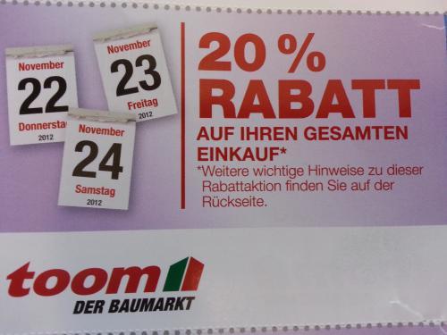 """20% Rabatt bei toom Baumarkt auf gesamten Einkauf! """"Laviva Coupon"""""""