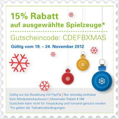 15% Gutschein auf Spielwaren, z.B. Helis, PS3, Wii, 3DS XL, etc. @Ebay