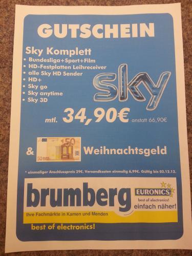 Sky Abo komplett 34,90€ + 50€ Weihnachtsgeld