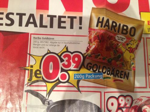 [LOKAL] Haribo Goldbären 200 Gramm @ Segmüller für 0,39 EURO