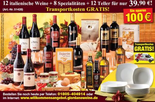 Giordano: 12 italienische Weine + 8 Spezialitäten + 12 Teller für nur 39,90 Euro inkl. Versand